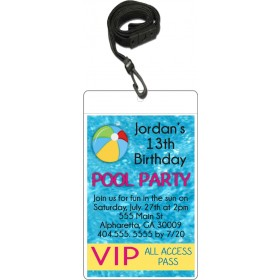 Pool Party VIP Pass Invitation with Lanyard (Custom Colors)