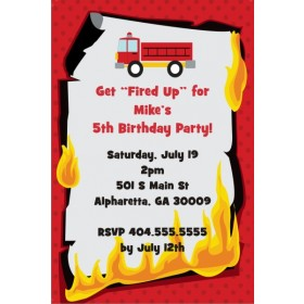 Fired Up Fire Truck Firefighter Invitation