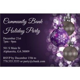 Purple Ornaments Christmas Holiday Party Invitation