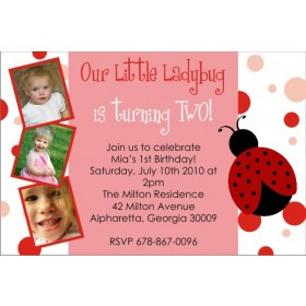 Ladybug Birthday Photo Invitation