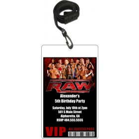Wrestling VIP Pass Party Invitation w Lanyard