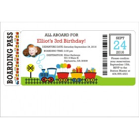 Choo Choo Train Boarding Pass Invitation - Die Cut