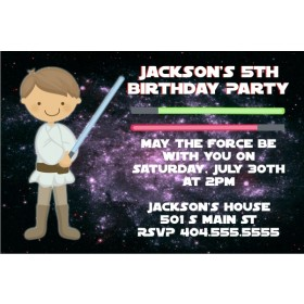 Star Wars Inspired Jedi Invitation - Light Brown Hair