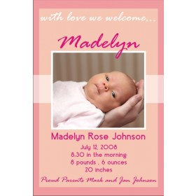 Newborn Baby Birth Announcement 2 (pink)