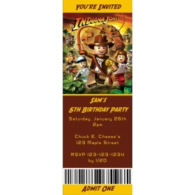 Lego Indiana Jones Ticket Style Invitations