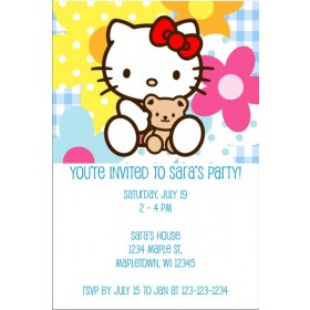 Hello Kitty Invitations -  Hello Kitty with teddy bear