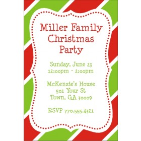 Christmas Stripes Holiday Party Invitation
