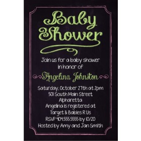 Baby Shower Chalkboard Style Invitation - Custom Colors