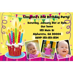 Cupcake w/Candles Photo Invitation