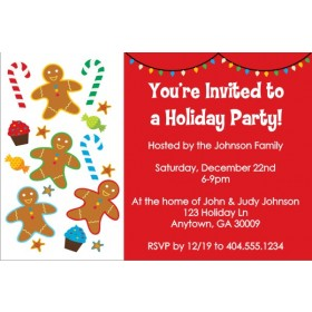 Gingerbread Treats Christmas Holiday Party Invitation