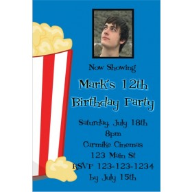 Movie Popcorn Photo Invitation - ALL COLORS