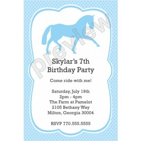 Horse Birthday Party Invitation - Custom Color