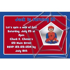 Spider-web Birthday Photo Invitation