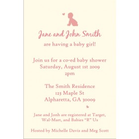 Crawl Baby Crawl Baby Shower Invitation (Girl)