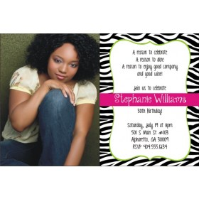 Quirky Zebra Stripe Print Photo Invitation - ANY COLOR