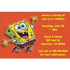 Spongebob Squarepants Invitations - Orange Joy
