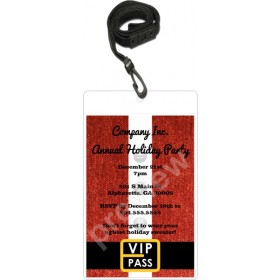 Santa Christmas Holiday VIP Pass Invitation with Lanyard (Choose Color)