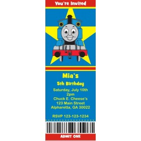 Thomas the Tank Engine Train Ticket Style Invitations (slim style)