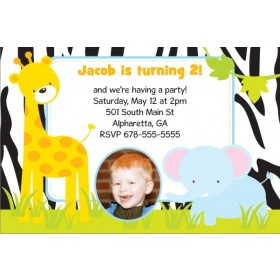 Jungle Fun Photo Invitation  - Giraffe and Elephant