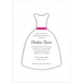 Wedding Dress Die Cut Bridal Shower Invitation