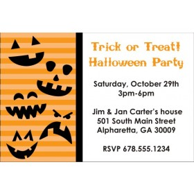 Halloween Pumpkin Faces Party Invitation