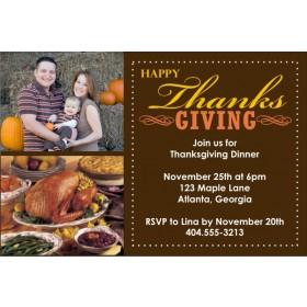 Thanksgiving Fall Autumn Photo Card Invitation - 2 Photos