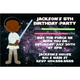 Star Wars Inspired Jedi Invitation -African American