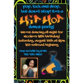 Hip Hop Dance Party Invitation with Photo