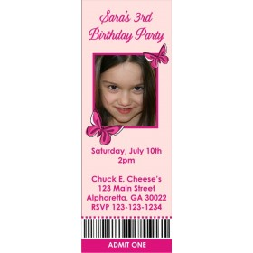 Butterfly Photo Ticket Style Invitations (slim style)