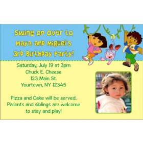 Dora and Diego Photo Invitations (1 Photo)