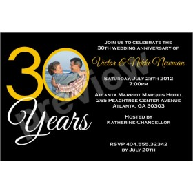 30 Years 30th Wedding Anniversary Photo Invitation