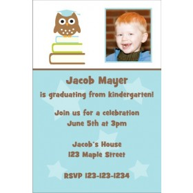 Owl Graduation Photo Invitation - Blue