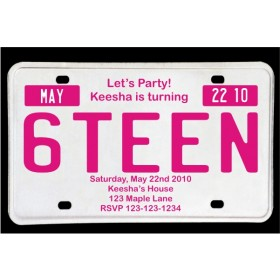Sweet 16 License Plate Birthday Invitation - Magenta