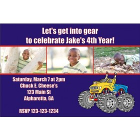 Monster Truck Photo Invitation