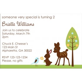 Forest Friends Invitation - Deer, Bunny, Bird