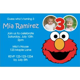 Elmo Sesame Street Photo Invitation - ALL COLORS