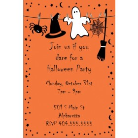 Spooky Orange Halloween Party Invitation