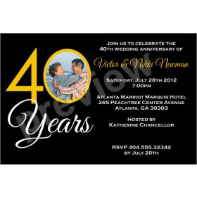 40 Years 40th Wedding Anniversary Photo Invitation