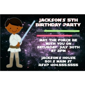 Star Wars Inspired Jedi Invitation -Brown Skin