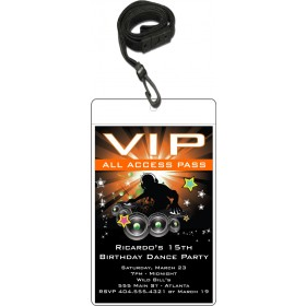 Nightclub DJ Dance Party VIP Pass Invitation w Lanyard - Orange
