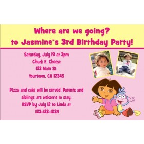 Dora the Explorer Photo Invitations