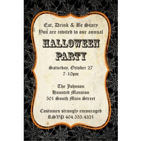 Black Spider Web Halloween Party Invitation