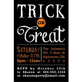 Devilish Choice Trick or Treat Halloween Party Invitation