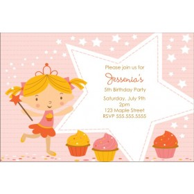 Cupcake Fairy Princess Invitation - Starry Pink