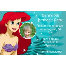 The Little Mermaid Ariel Invitation w/ Optional Photo