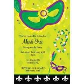 Mardi Gras Mask and Beads Invitation