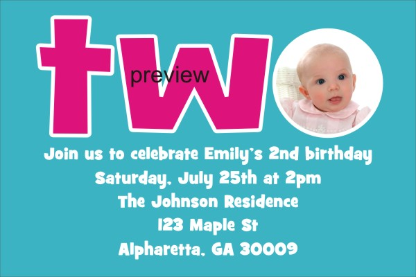Personalized Party Invites News 2nd Second Birthday Invitation – 2nd Birthday Invite Wording
