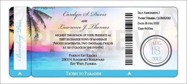 Boarding Pass Invitation Wedding