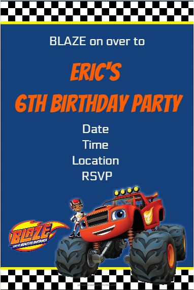 Blaze and the monster machines party invitation template