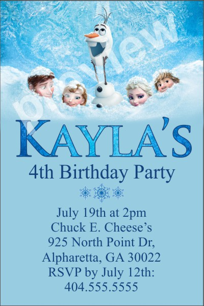 Frozen birthday invitations